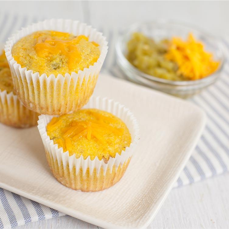 Cheddar green chili corn muffins 2
